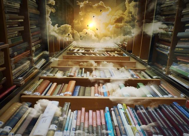 天空と鳥と本棚