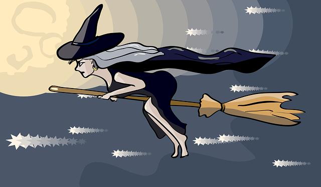 ホウキに乗った魔女